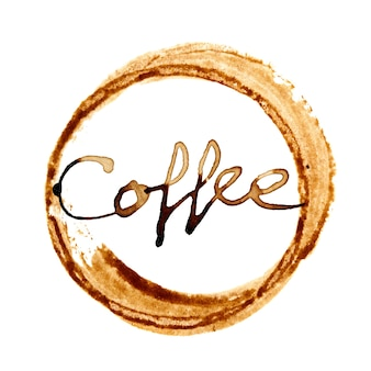 Macchia della tazza di caffè con scritte isolate su sfondo bianco