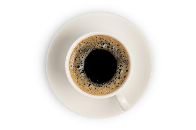 Vista dall'alto della tazza di caffè isolata su fondo bianco