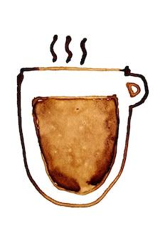 Tazza di caffè con vapore abbozzato nel caffè isolato su uno sfondo bianco. illustrazione raster