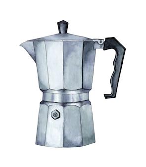 Pittura ad acquerello della caffettiera logo del bar o del caffè simbolo della bevanda del caffè stufa della caffettiera