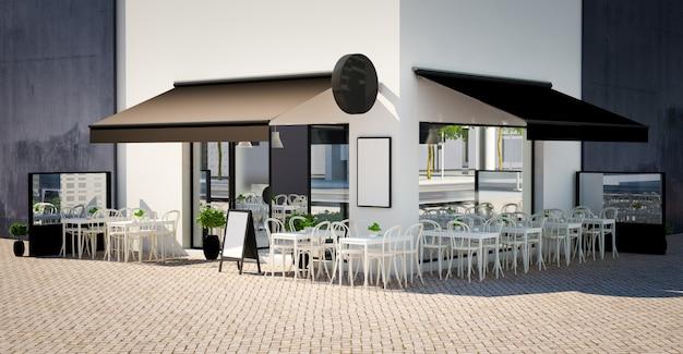 Mockup di facciata di caffetteria con elementi di personalizzazione