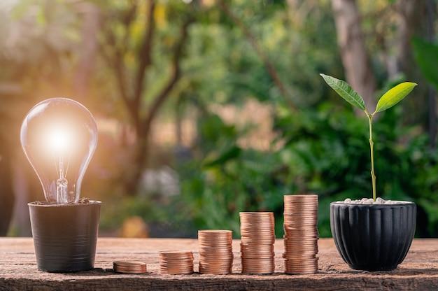Idea lampadina idea moneta impilata invece di crescere con un albero