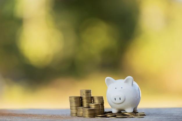 Mucchio di monete che mostra un grafico di aumento, idee per risparmiare denaro, risparmiare denaro per gli investimenti.