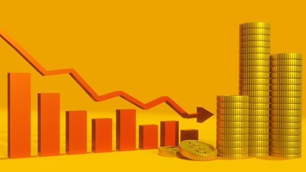 Moneta e grafico rosso tendenza al ribasso, affari, finanze e progettazione del fondo degli investimenti