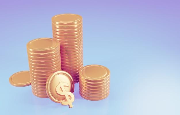 Pile di monete, profitto da investimento aziendale, concetto di risparmio di denaro. illustrazione di rendering 3d.