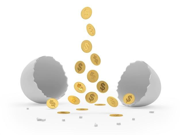 Le monete stanno cadendo in un guscio d'uovo rotto