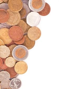 Monete di diversi paesi su uno sfondo bianco.