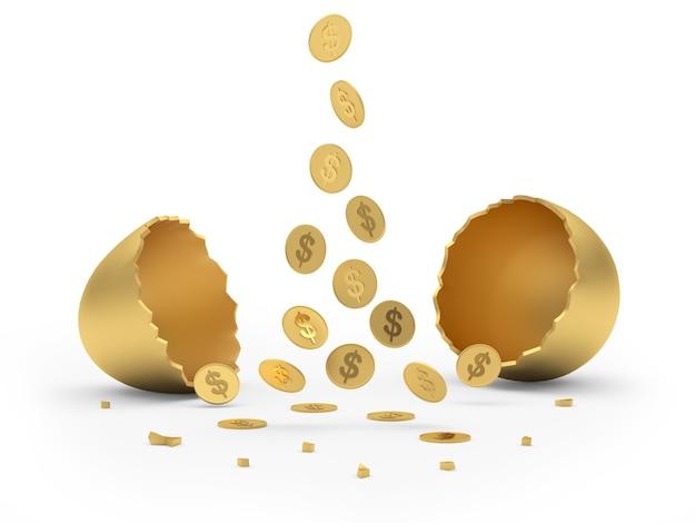 Le monete cadono in un uovo d'oro rotto