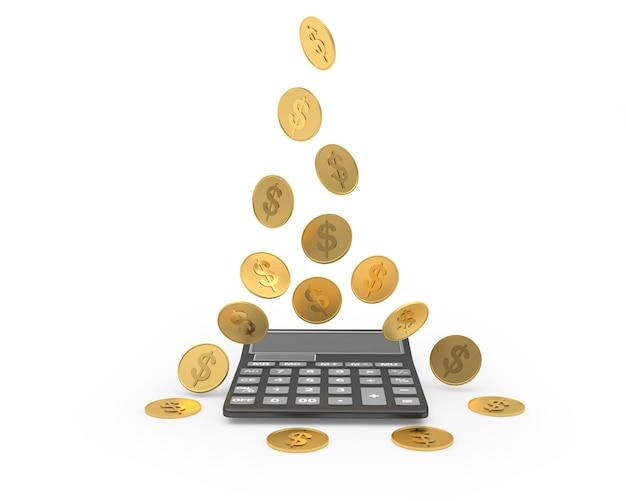 Le monete cadono sulla calcolatrice