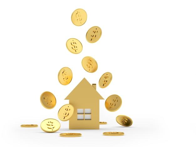 Monete che cadono sull'icona della casa d'oro