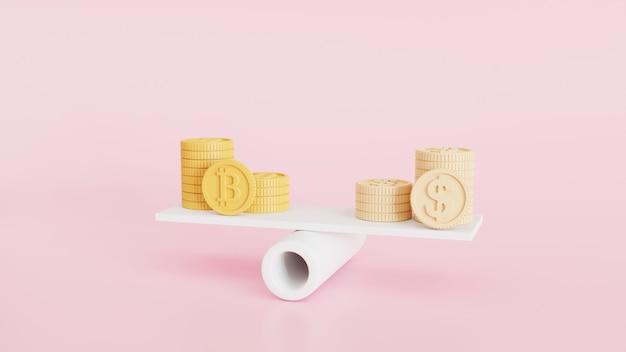 Pile di monete e bitcoin digital su bilance, gestione finanziaria, analisi finanziaria, risparmio di denaro e concetto di scambio di denaro. illustrazione di rendering 3d