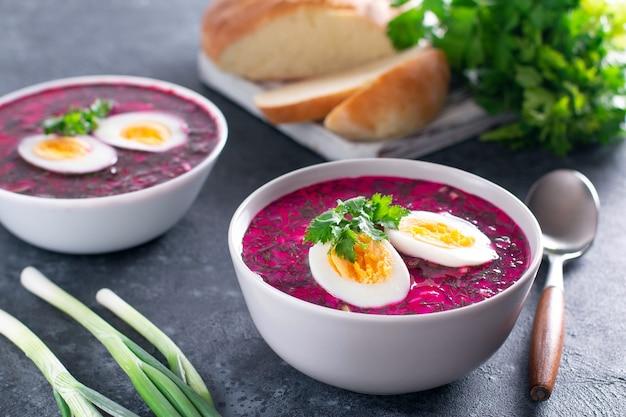 Zuppa fredda di barbabietole (barbabietola) su yogurt con uova, cipolla e cetrioli su uno sfondo di cemento scuro
