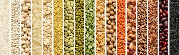 Collage di cereali e legumi: riso, piselli, lenticchie, fagioli, fagioli, miglio, grano saraceno, ceci. vista dall'alto. banner di intestazione del sito web
