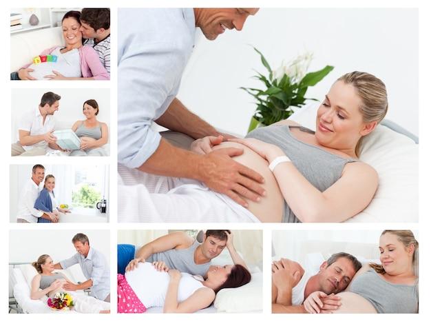 Collage di coppie che si abbracciano e si rilassano