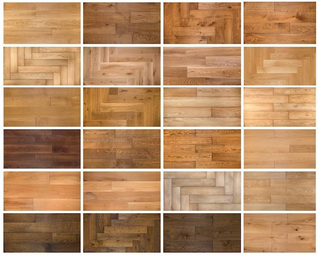 Collage di diverse strutture in legno per parquet o laminato