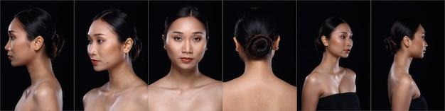 Collage volto di pelle abbronzata asiatica donna dopo aver applicato lo stile di capelli trucco. nessun ritocco, viso fresco con pelle acneica e verruca. studio che illumina lo sfondo nero, la ragazza si gira per mostrare l'angolo del viso