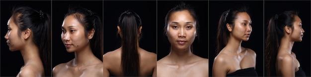 Collage volto di pelle abbronzata asiatica donna prima di applicare il trucco stile di capelli. nessun ritocco, viso fresco con pelle acneica e verruca. studio che illumina lo sfondo nero, la ragazza si gira per mostrare l'angolo del viso