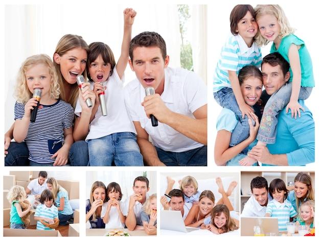 Collage di una famiglia che divide i momenti insieme a casa