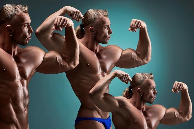 Il collage di immagini di attraente body builder maschio su sfondo blu.