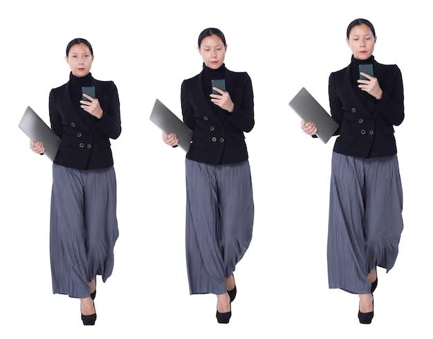 Collage a figura intera figura che cammina di 40s 50s asian lgbtqia + pantaloni e scarpe da donna con capelli neri. la femmina usa lo smartphone, il taccuino e le pose della camminata sopra fondo bianco isolato