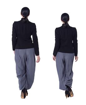 Collage group a figura intera figura che cammina di 40s 50s asian lgbtqia + pantaloni e scarpe da donna con capelli neri. la femmina cammina indietro e la vista posteriore sopra fondo bianco ha isolato