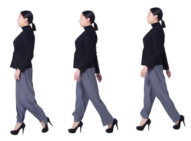 Collage group a figura intera figura che cammina di 40s 50s asian lgbtqia + pantaloni e scarpe da donna con capelli neri. la femmina cammina vista laterale e lavora in modo intelligente su sfondo bianco isolato