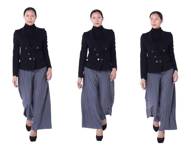 Collage group a figura intera figura che cammina di 40s 50s asian lgbtqia + pantaloni e scarpe da donna con capelli neri. la femmina cammina e lavora in modo intelligente su sfondo bianco isolato