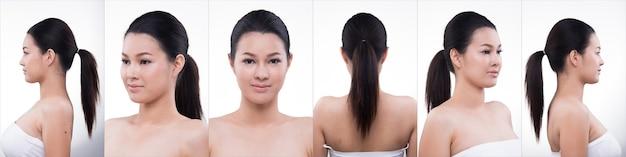 Pacchetto gruppo collage di donna asiatica dopo aver applicato lo stile di capelli trucco. nessun ritocco, viso fresco con acne, labbra, guance, pelle liscia. sfondo bianco di illuminazione da studio, per il trattamento di terapia estetica