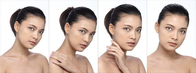 Collage gruppo di pack asian woman dopo aver applicato lo stile di capelli trucco. nessun ritocco, viso fresco con una pelle bella e liscia. studio che illumina lo sfondo bianco, molte emozioni del viso si girano