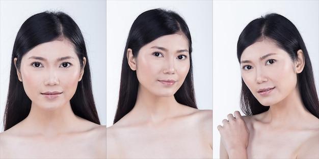 Pacchetto gruppo collage di donna asiatica dopo aver applicato lo stile di capelli trucco. nessun ritocco, viso fresco con una pelle bella e liscia. sfondo bianco di illuminazione dello studio