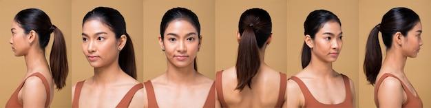 Pacchetto gruppo collage donna asiatica dopo aver applicato il trucco avvolto stile di capelli. nessun ritocco, viso fresco con acne, labbra, occhi, guance, bella pelle liscia. studio illuminazione sfondo giallo senape beige