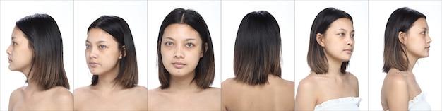 Collage gruppo di pack asian woman prima di applicare il trucco stile di capelli. nessun ritocco, viso fresco con una pelle bella e liscia. studio che illumina lo sfondo bianco, molte emozioni del viso si girano