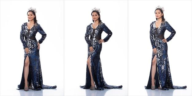 Pacchetto gruppo collage ritratto di miss asian pageant concorso di bellezza in abito da sera con paillettes blu argento con corona di diamanti luce scintillante, studio illuminazione sfondo bianco isolato integrale