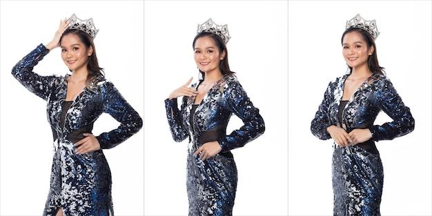 Pacchetto gruppo collage ritratto di miss asian pageant concorso di bellezza in abito da sera con paillettes blu argento con corona di diamanti luce scintillante, sfondo bianco illuminazione studio isolato
