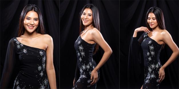 Collage group pack ritratto di giovane donna asiatica snella indossa abito da sera di cristallo scuro, bella ragazza pone molti stili diversi, illuminazione da studio sfondo nero drappeggio panno
