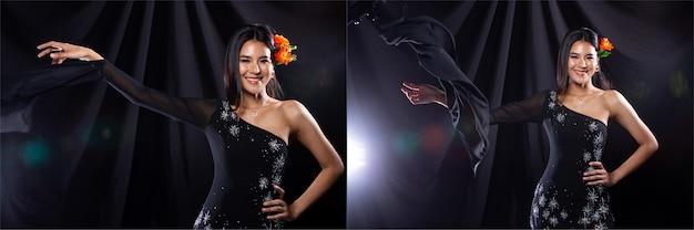 Collage group pack ritratto di giovane donna asiatica snella indossa abito da sera di cristallo scuro, bella ragazza lancia e lancia il braccio in molti stili diversi, illuminazione da studio sfondo nero drappeggio di stoffa