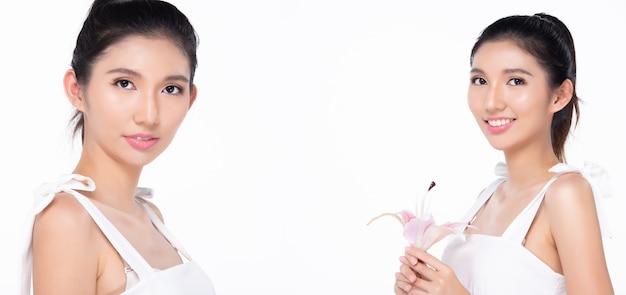 Collage group ritratto di donna asiatica di moda la pelle abbronzata ha un bellissimo stile di capelli neri da elegante. la ragazza indossa l'abito e si sente sorriso felice su sfondo bianco copia spazio logo testo
