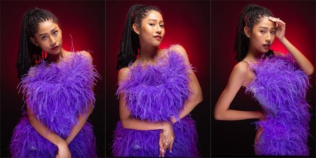 Gruppo di collage ritratto di donna asiatica di moda la pelle abbronzata ha bellissimi dreadlocks in stile capelli neri di elegante con luce rossa sul bordo. la ragazza indossa un abito di piume viola e sente molte pose diverse