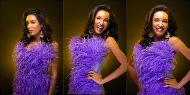 Il gruppo di collage ritratto di donna asiatica transgender sottile ha uno splendido stile di capelli con luce gialla sul bordo. la ragazza lgbt indossa un abito di piume viola e ama molte pose diverse, sfondo scuro