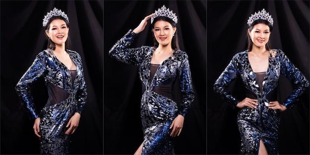Gruppo di collage ritratto di miss pageant beauty contest in abito da ballo da sera con paillettes blu con luce scintillante corona di diamanti, la donna asiatica si sente sorridere felice e pone molti stili diversi su un drappo scuro