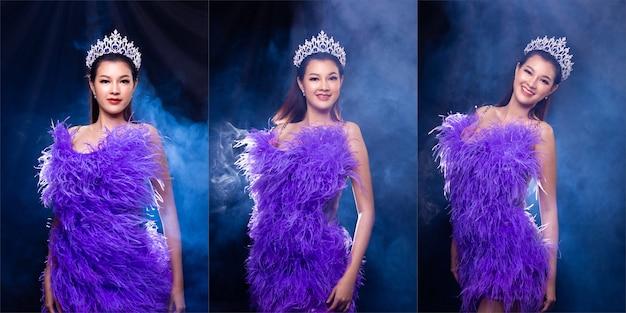 Collage gruppo ritratto di miss pageant concorso di bellezza in abito da ballo sera piuma viola con corona di diamanti, donna asiatica si sente sorriso felice e pone molti stili di differenza su sfondo scuro fumo