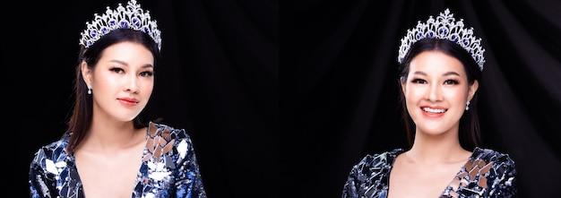 Collage ritratto di gruppo di miss pageant beauty contest in abito da sera di paillettes con luce scintillante corona di diamanti, donna asiatica attacca palpebre e ciglia con doppi nastri con un bel sorriso felice