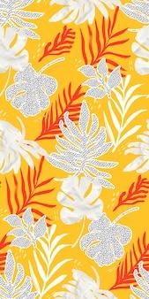 Collage pattern seamless texture foglie tropicali carta tagliata foglia monstera sfondo giallo alla moda