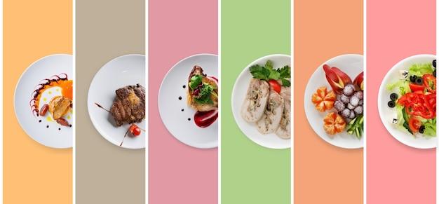 Collage di piatti del ristorante sulla composizione colorata