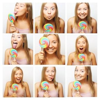Collage della stessa donna che fa espressioni diverse. studio girato.