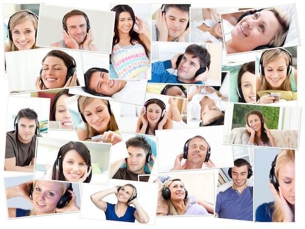Collage di singole persone che ascoltano la musica