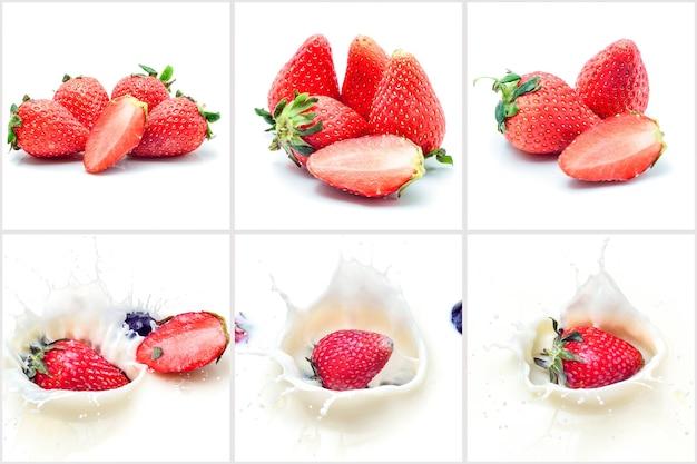 Collage di spruzzi di fragole sul latte e isolato su sfondo bianco