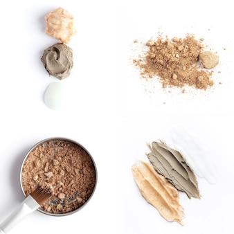 Collage con cosmetici marrone viso o ombretti pennello e campioni di scrub per il corpo