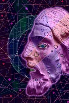 Collage con gesso scultura antica del volto umano poster arte contemporanea minimalismo punk funky