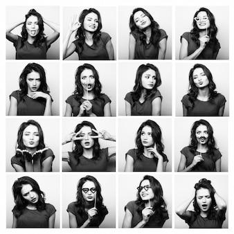 Collage di diverse espressioni facciali della donna. immagine in bianco e nero.
